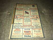 1942 Washington Senators vs. Cleveland Indians Baseball Scorecard