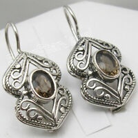 "BROWN SMOKY QUARTZ Genuine Jewelry ! 925 Sterling Silver 1.4 "" Dangle Earrings"