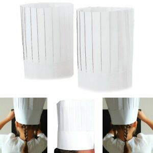 """NEW Disposable White 9"""" Paper Chef Tall Hat Set Food Service Supplies 10pc BULK"""