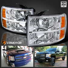 07-14 Chevy Silverado 1500/2500/3500 HD Chrome Headlights Pair Left+Right