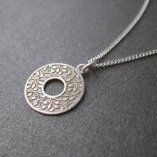 Collier pendentif rond motif végétal feuilles en argent 925/1000e CO106