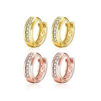 Fashion Women Jewelry 18K Gold Plated Row Cubic Zirconia Earrings Huggie Gift