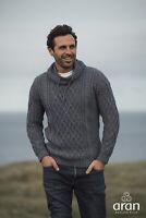Aran Woollen Mills Mens Denim Collared Aran Sweater B558 206 - Made in Ireland
