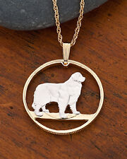"Newfoundland Dog Canada Coin Pendant Necklace. Hand cut - 1"" diameter ( # 614 )"
