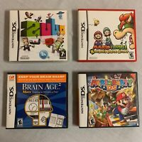Nintendo DS Games Lot of 4 Mario Party Brain Age 2 ZUBO And Mario & Luigi B.I.S