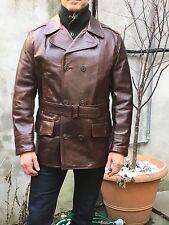 Aero Leather Mariner Coat Brown Front Quarter Horsehide.