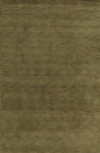 Contemporary GREEN Solid Gabbeh Oriental Area Rug Wool Hand-knotted 6x9 Carpet