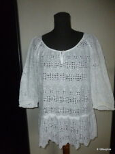 Gerard Darel Top Blouse tunique coton blanc 40 / 42 broderie anglaise