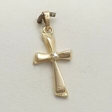NEW 14K Gold Small Petite Diamond  Cross Charm Pendant 1.2gr