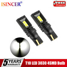 Pair T10 LED 3030 4SMD Bulb White W5W 168 194 Super Bright Car Wedge Side Light