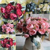 Artificial Fake Peony Silk Flowers Bouquet Bridal Hydrangea Wedding Decor