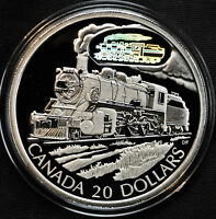 2002 Canada D10 Locomotive $20 Sterling Silver Hologram Coin