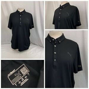 Puma Golf Shirt L Black Polo Short Sleeve Women's Poly Lycra LNWOT YGI T0-547