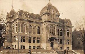 FLINT Michigan postcard Genesee County RPPC City Hall Pesha photo 9426
