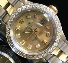 Rolex Ladies Datejust Gold Stainless Steel Oyster Perpetual Diamond Watch