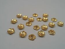 20 Tibetan Flower Style Bead Caps, Antique Golden 9x9x2.5, hole 1mm