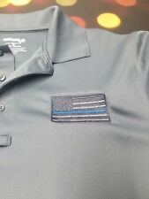 POLICE LIVES BLUE LINE USA FLAG EMBROIDERED LIGHTWEIGHT POLO SHIRT SLEEVE PATCHS