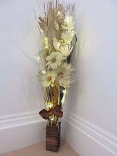 New cream Gold Xmas display in wood vase with LED lights weddings & Xmas