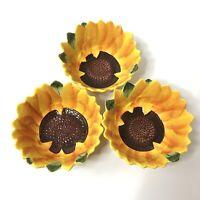 Pier 1 Sunflower 3D Soup Cereal Bowls Set of 3