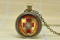 "Knights Templar cross shield VIKING NORDIC pendant women men 20"" necklace"