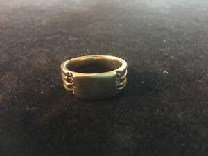 Vintage Mens Polished Bronze Band Ring w Side Ridges You can Monogram Size 10.5