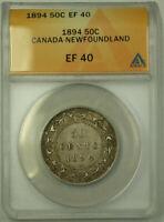 1894 Canada Newfoundland 50 Cents Half Dollar Silver Coin ANACS EF-40