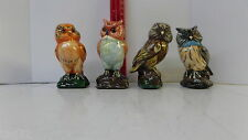 BABY OWL FIGURINE STATUES COLLECTIBLE DECO 4 PC HAND PAINTED CLAY NIB
