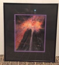 Original Art Gouache Painting Outer Space Cosmic Bouquet C.H. Haymes Framed Glas