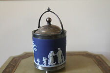 Antique Wedgwood Dark Blue Jasper Ware Biscuit Barrel Silver-Plated Lid (c.1870)