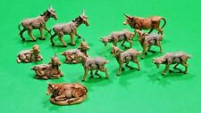 """Vtg Fontanini Italy Nativity Animals Goats & Oxen, Cows (Lot of 12) 2"""" Size"""