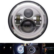US 7'' Round Yellow & White LED Halo Angel Eye Ring Headlight Projector For Jeep