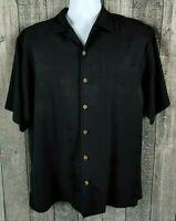 Tommy Bahama Mens Hawaiian Silk Vacation Shirt Sz M Black Short Sleeve Aloha