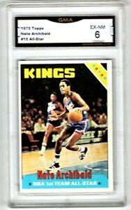 1975 Topps Basketball #15 Nate Archibald All Star HOF Graded GMA 6 EX-NM 👀