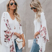 Womens Chiffon Floral Kimono Top Cardigan Beach Wrap Shirts Loose Blouse Dress