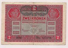 1 March 1917 Austria Zwei Kronen Banknote--No Pinholes nor Tears !