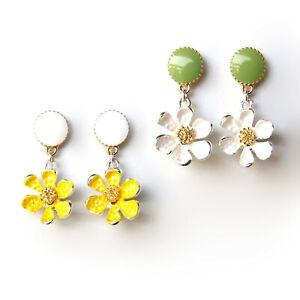 Earrings Daisy White Green Yellow Gold Flower Summer Lovely Elegant Drop Dangle