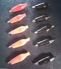 5 PAIRS - 28mm Crocodile / Aligator Clip - Red and Black - Silicon Rubber Hood