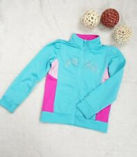 PUMA Girls' Track Zip up Jacket Sweater Glitter Logo Light Green Size 6x