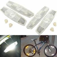 White Bicycle Bike Wheel Safety Spoke Reflector Mount Clip Warning Lamp Set O6X0
