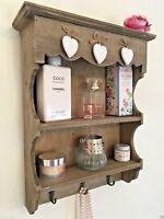 Shabby Chic Wall Unit Shelf Cupboard Hooks Rustic Small Display Cabinet Bathroom