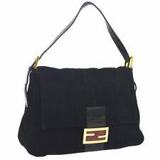 Authentic FENDI Mamma Baguette Hand Bag Black Suede Leather Vintage AK33630