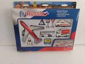Die Cast Metal Airport Playset Toy Fly Russia
