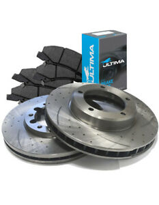 SLOTTED Front 298.5mm BRAKE ROTORS & ULTIMA PADS D2963S x2 MAZDA6 08~12 2.5L