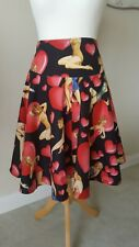 Get Cutie Ladies Flared Burlesque Rockabilly Pin Up Skirt Size S 8/10