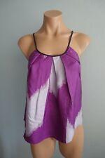 Gorman Pleated neckline Ikat Print Mauve & Grey Silk Cami Top sz XS