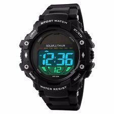 Sports Solar Energy LED Digital Watch 50M Waterproof Military Wristwatch