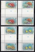 Tuvalu 1988 Marine Life Sc. 465-468 Gutter Pairs Cplte Mint Never Hinged