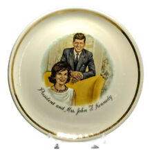 "Vintage President and Mrs. John F. Kennedy 1960's Collectors 9"" Plate Gold Trim"