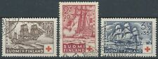 Finland 1937 Red Cross Used Stamps - Frigates - Warships - Sailing Ships