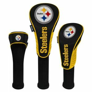 PITTSBURGH STEELERS HIGH QUALITY NYLON GOLF HEAD COVER SET EMBROIDERED LOGO